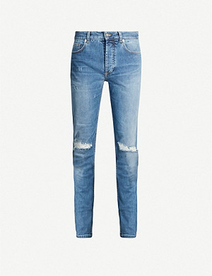 GIVENCHY Ripped faded slim-fit straight-leg jeans
