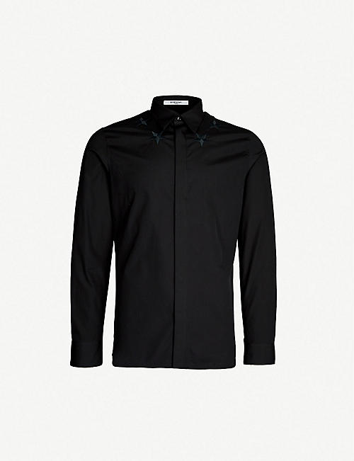 bdaafdccbbf2 GIVENCHY Star-embroidered slim-fit cotton shirt