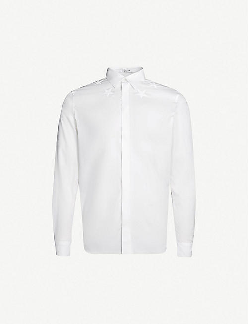 GIVENCHY Star-embroidered slim-fit cotton shirt 98df329d3