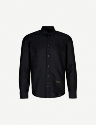 GIVENCHY Leopard-jacquard slim-fit cotton shirt