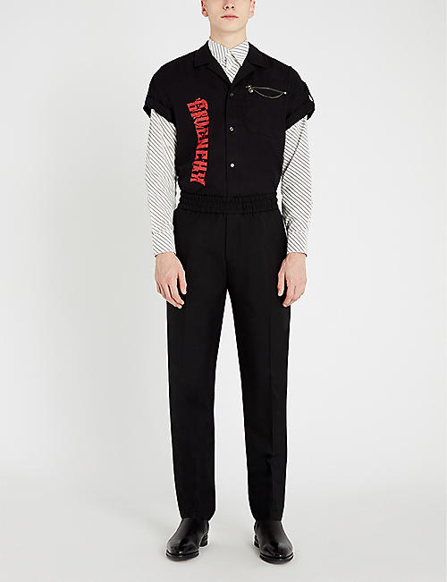 GIVENCHY Chain-trim graphic slim-fit cotton shirt