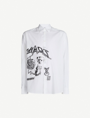 GIVENCHY Illustrated slim-fit cotton shirt