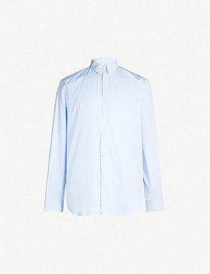 GIVENCHY Pinstriped logo-print casual-fit cotton shirt