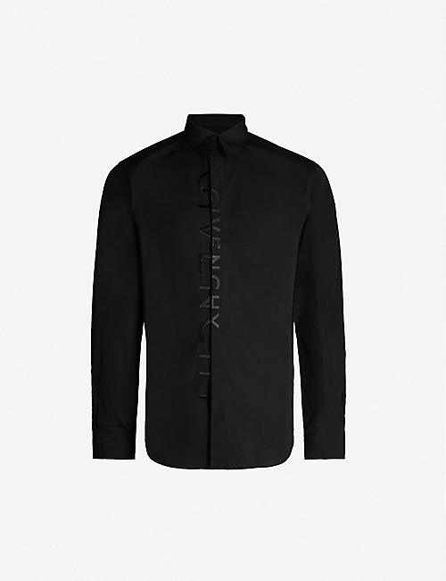 GIVENCHY Logo-embroidered slim-fit cotton-poplin shirt
