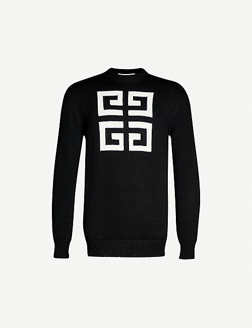 9014bb28 GIVENCHY Logo intarsia cotton jumper
