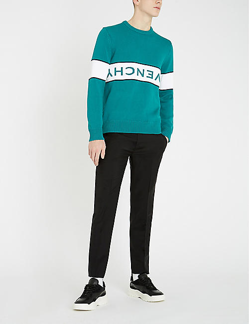 GIVENCHY Logo-intarsia cotton-knit jumper