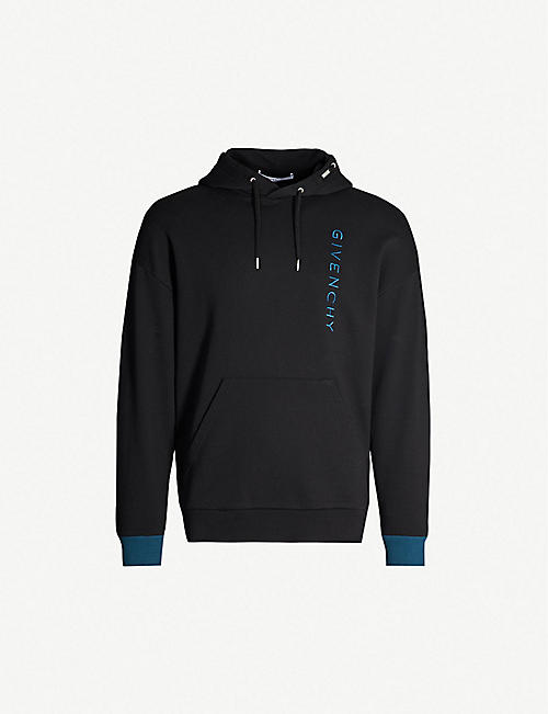 GIVENCHY Vertical logo-embroidered cotton-jersey hoody