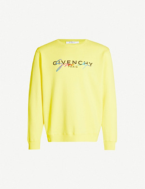 GIVENCHY Rainbow logo-embroidered cotton-jersey sweatshirt