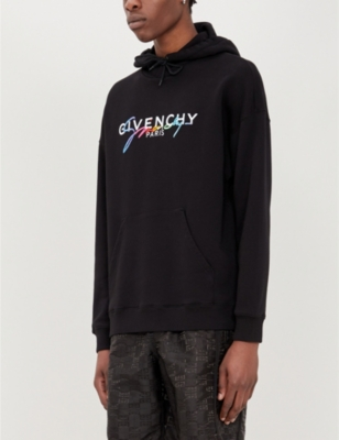 Rainbow Logo Embroidered Cotton Jersey Hoody by Givenchy