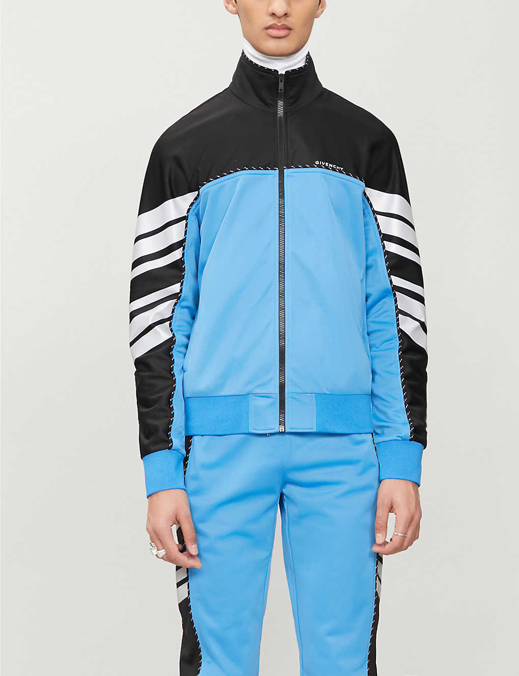 GIVENCHY: Colour-blocked high-neck stretch-jersey tracksuit jacket