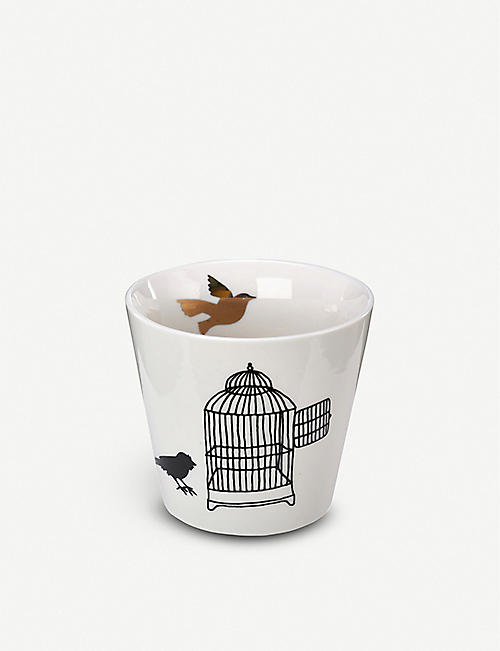 POLS POTTEN Freedom Birds porcelain cups set of six