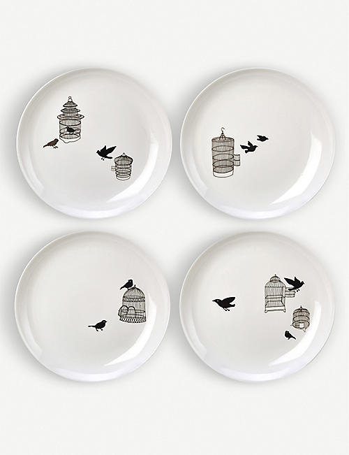POLS POTTEN Freedom Birds porcelain plates set of four