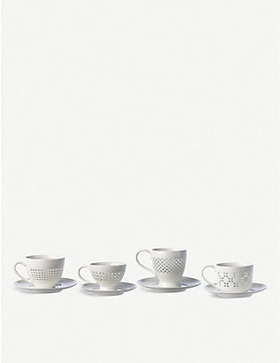 POLS POTTEN: Pierced pattern porcelain cups and saucers set of 4
