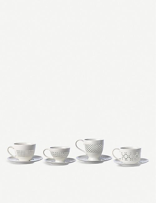 POLS POTTEN Pierced pattern porcelain cups and saucers set of 4