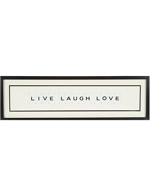 VINTAGE PLAYING CARDS Live Laugh Love framed picture 8x30""
