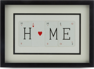 VINTAGE PLAYING CARDS Home with heart frame