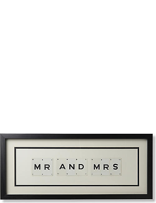 VINTAGE PLAYING CARDS Mr and Mrs framed picture 8x20""