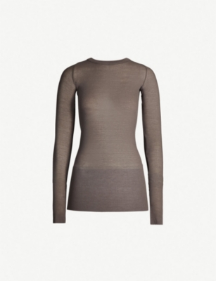 RICK OWENS Ribbed-knit stretch-silk top
