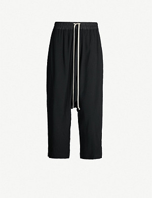 RICK OWENS Dropped-crotch crepe trousers