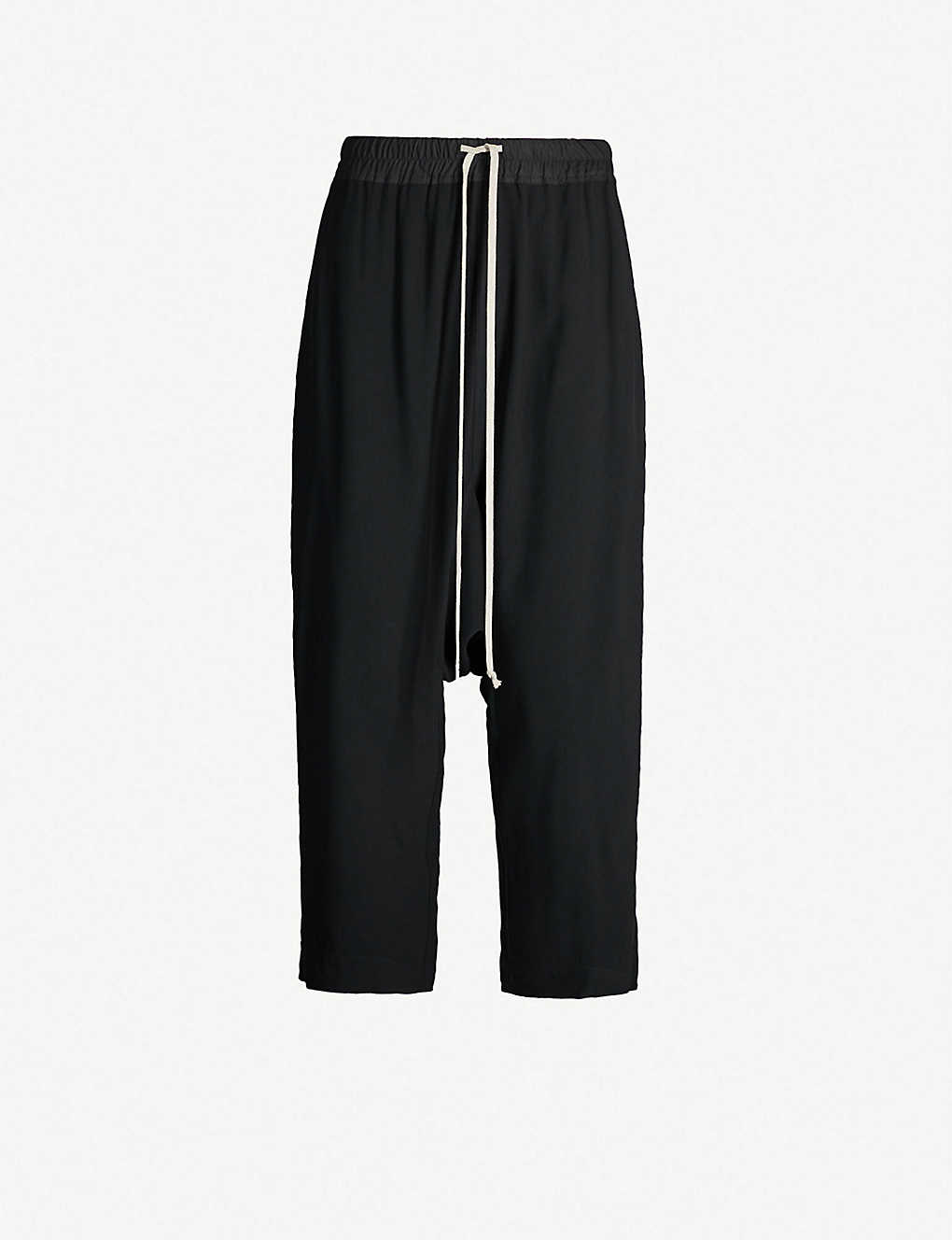 RICK OWENS: Dropped-crotch crepe trousers