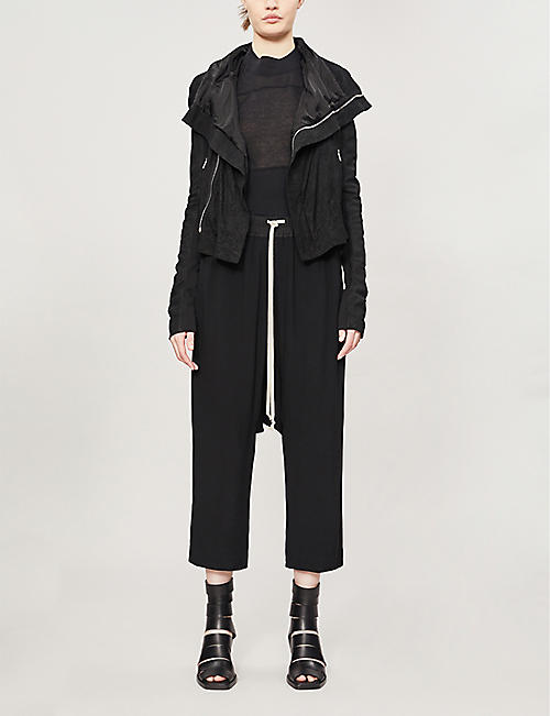 RICK OWENS Funnel-neck suede jacket