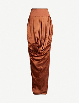 RICK OWENS Ruched satin maxi skirt