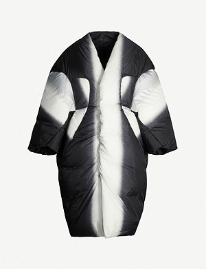 RICK OWENS Abstract-print oversized shell-down coat