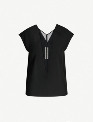 RICK OWENS Mesh panel V-neck sleeveless top