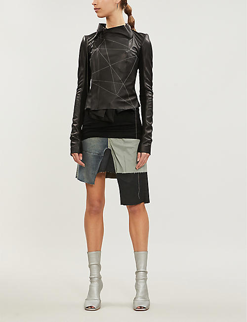 RICK OWENS Patchwork A-line denim skirt