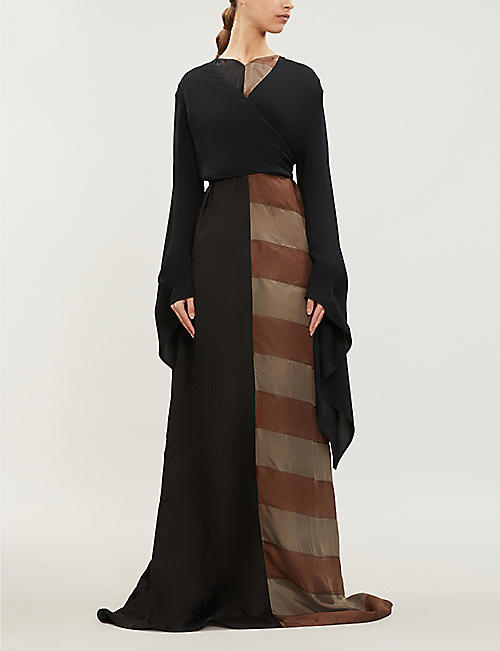 RICK OWENS Striped-panel satin gown