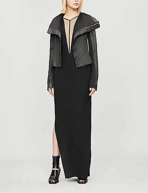 RICK OWENS V-neck crepe and tulle gown