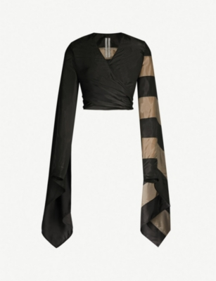 RICK OWENS Cropped striped-sleeve satin wrap jacket