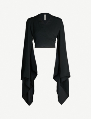RICK OWENS Flared self-tie crepe wrap top