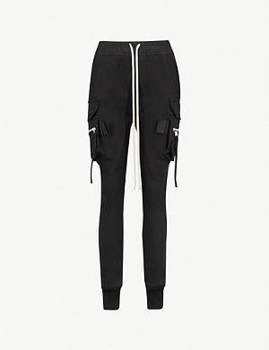 RICK OWENS Cargo pocket skinny cotton jogging bottoms