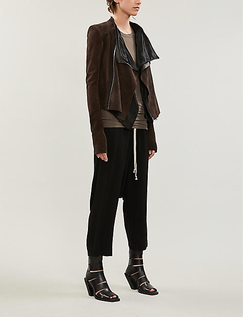 RICK OWENS Asymmetric layered suede jacket
