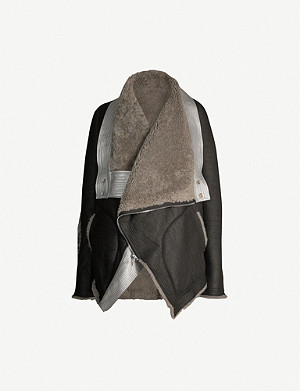 RICK OWENS Exploder metallic-trim leather shearling jacket