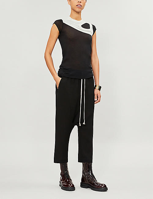 RICK OWENS Deconstructed cotton-jersey top