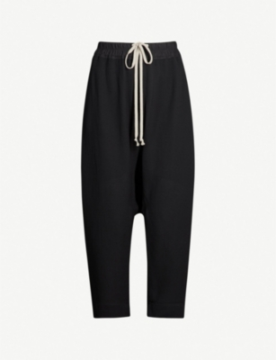 RICK OWENS Dropped-crotch wool-blend trousers