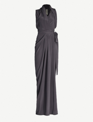 RICK OWENS Draped wrap-style silk gown