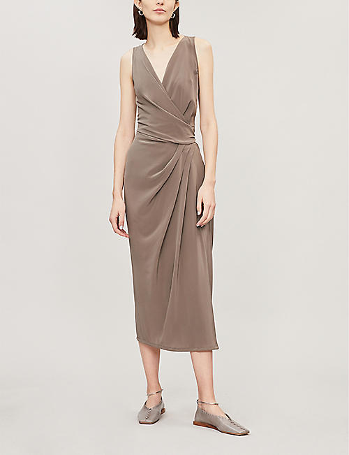 RICK OWENS Draped wrap-style silk dress