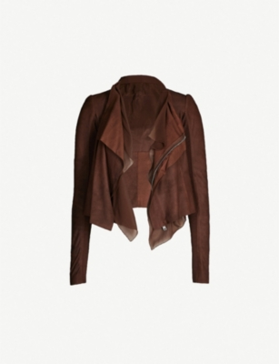 RICK OWENS Waterfall-neck suede jacket