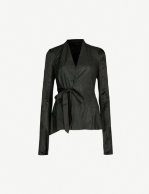 RICK OWENS Princess leather and satin wrap jacket