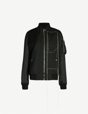 RICK OWENS Zipped stretch-wool and satin bomber jacket