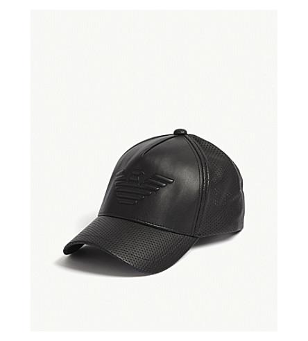 89684181 EMPORIO ARMANI - Eagle faux-leather snapback cap | Selfridges.com