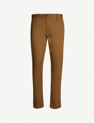 EMPORIO ARMANI Slim-fit tapered stretch-cotton trousers