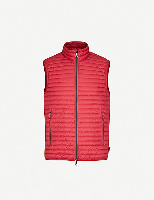 EMPORIO ARMANI: Funnel-collar padded shell and down-blend gilet