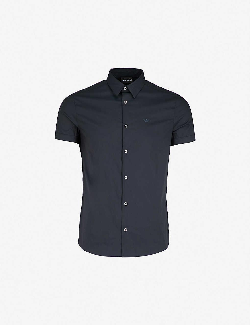 31c8b4e1 Short-sleeved slim-fit poplin shirt