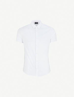 EMPORIO ARMANI Short-sleeved slim-fit poplin shirt