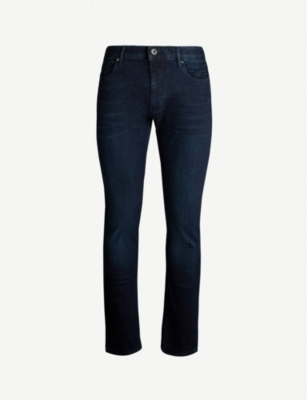 EMPORIO ARMANI Slim-fit straight stretch-denim jeans