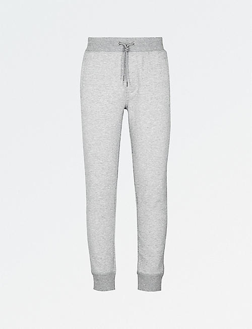 EMPORIO ARMANI: Embroidered logo cotton-blend jogging bottoms